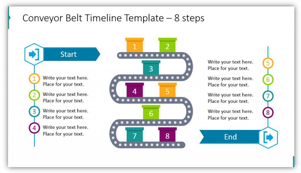 Conveyor Belt Timeline Template – 8 steps