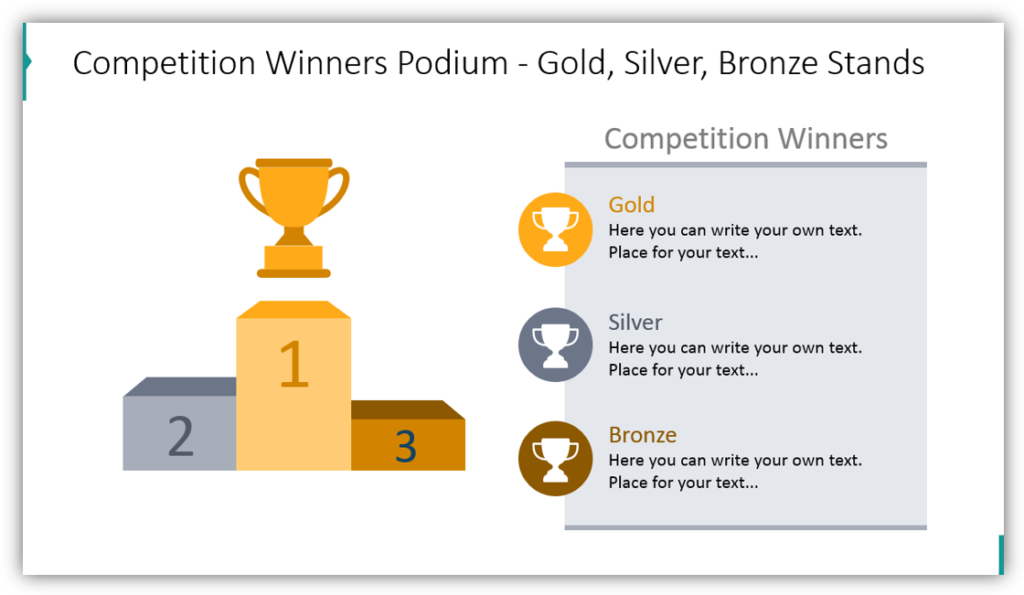 Competition Winners Podium - Gold, Silver, Bronze Stands