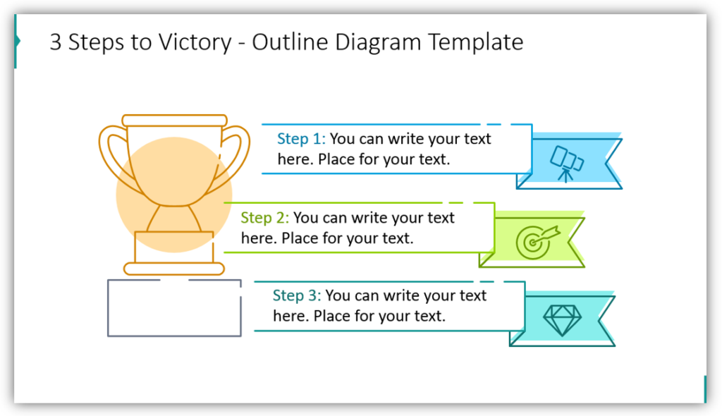 3 Steps to Victory - Outline Diagram Template
