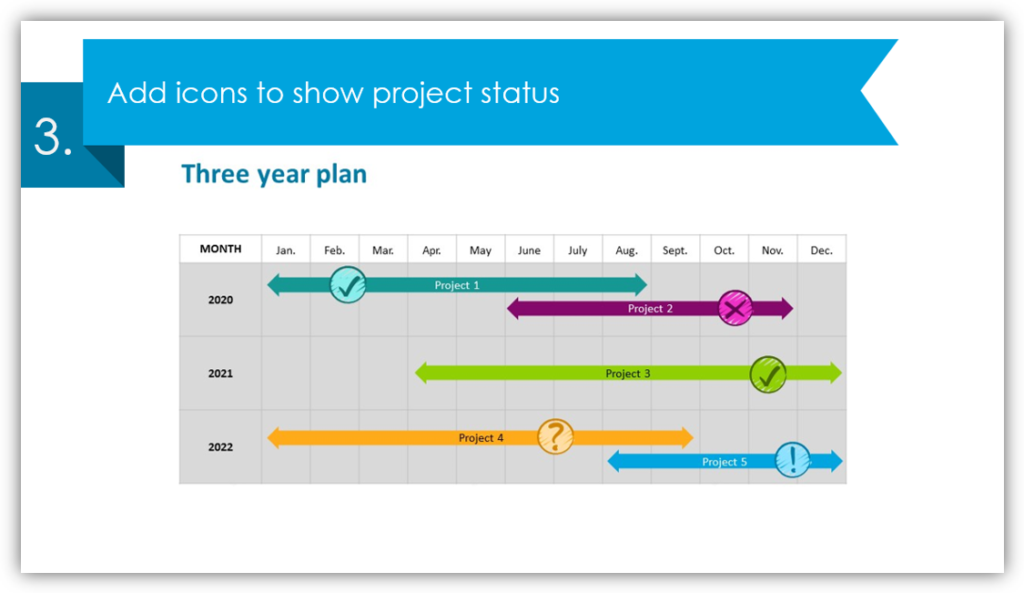 to show project status calendar table graphics