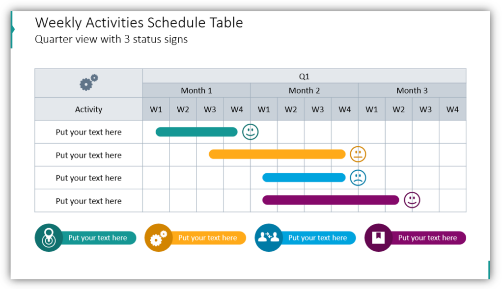 Weekly Activities Schedule Table Quarter view with 3 status signs