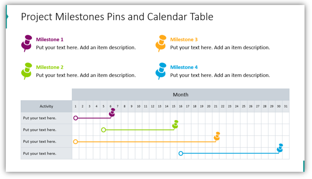 Project Milestones Pins and Calendar Table
