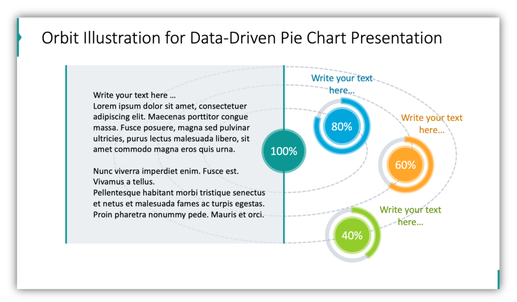 Orbit diagrams Illustration for Data-Driven Pie Chart Presentation