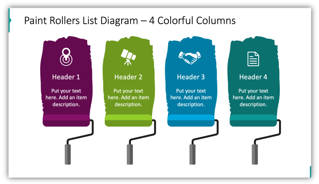 Paint Rollers List Diagram – 4 Colorful Columns
