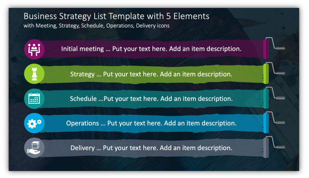 Business Strategy List Template with 5 Elementswith Meeting, Strategy, Schedule, Operations, Delivery icons
