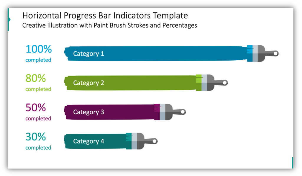 Horizontal Progress Bar Indicators Template Creative Illustration with Paint Brush Strokes and Percentages