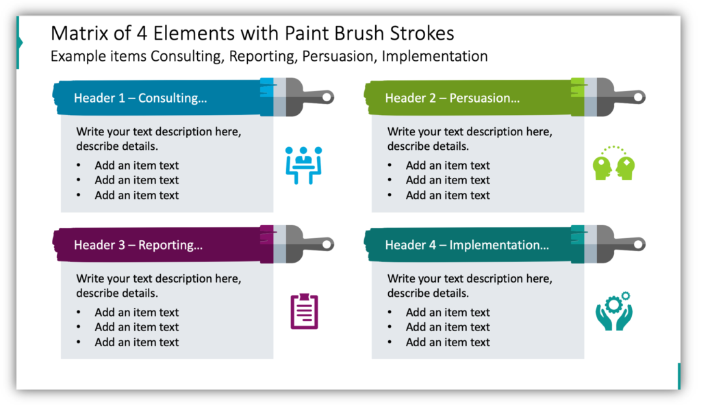 Matrix of 4 Elements with Paint Brush Strokes Example items Consulting, Reporting, Persuasion, Implementation
