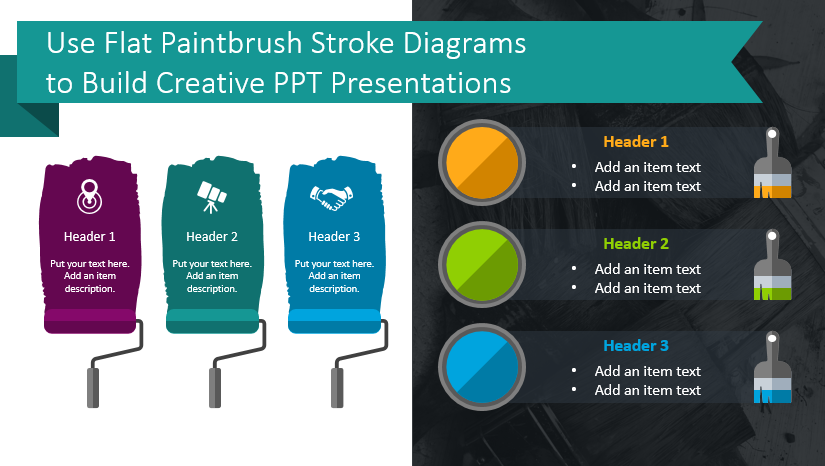 Use Flat Paintbrush Stroke Diagrams to Build Creative PPT Presentations
