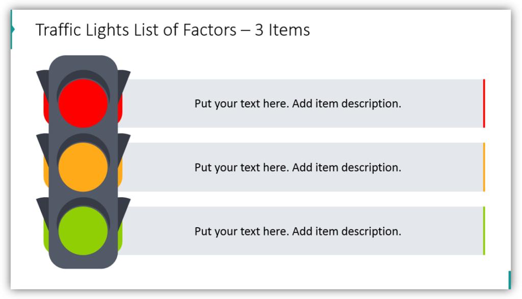 Traffic Lights List of Factors – 3 Items