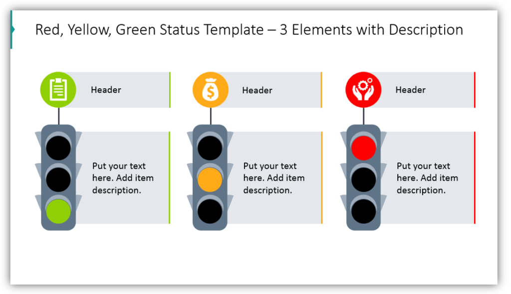 Red, Yellow, Green Status Template – 3 Elements with Description