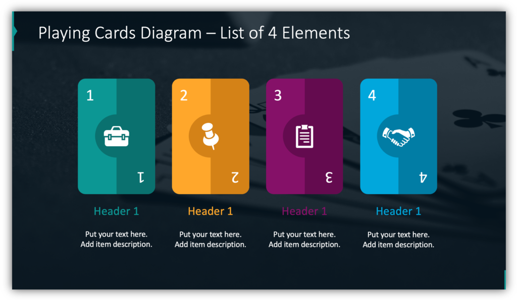 Playing Cards Diagram – List of 4 Elements