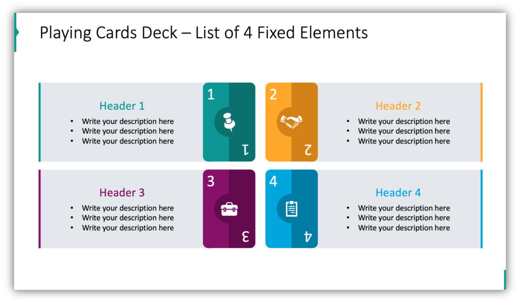 Playing Cards Deck – List of 4 Fixed Elements