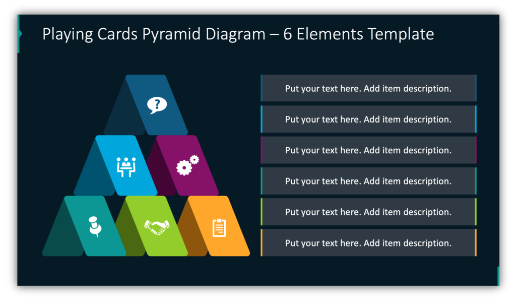 Playing Cards Pyramid Diagram – 6 Elements Template