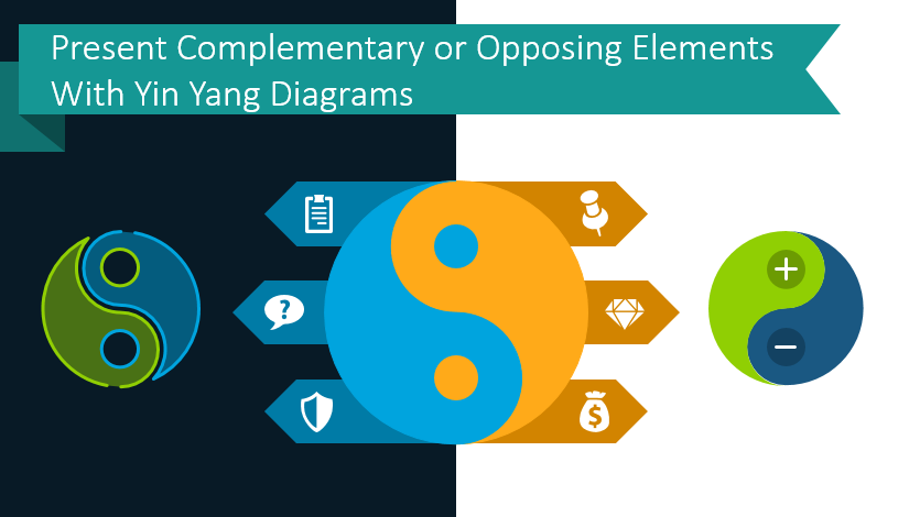 Present Complementary or Opposing Elements With Yin Yang Diagrams