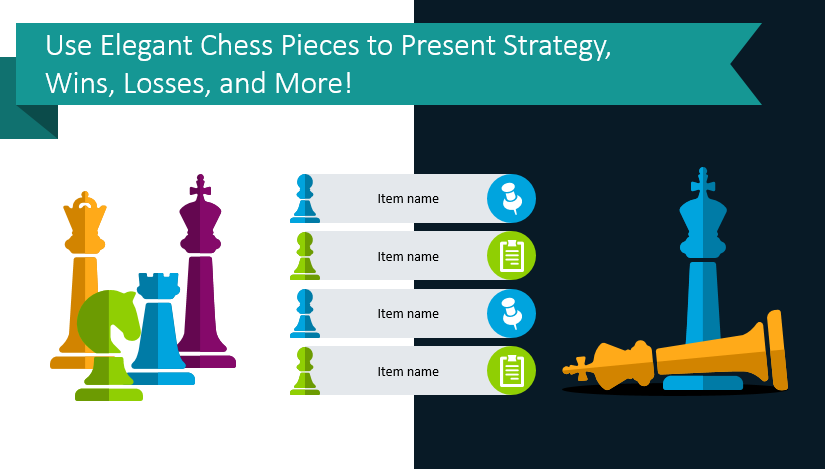 Use Elegant Chess Pieces to Present Strategy, Wins, Losses, and More!
