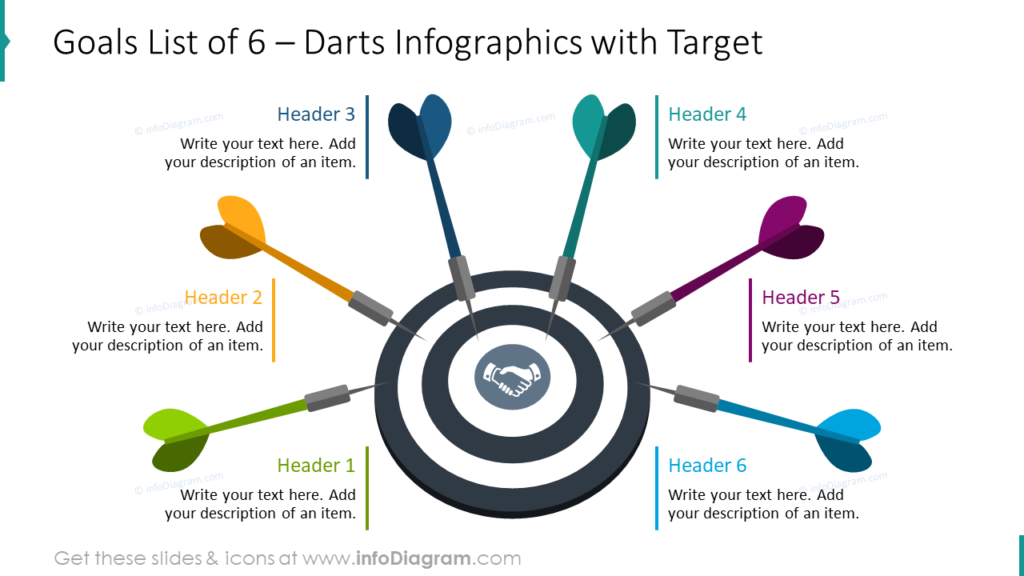 Goals List of 6 – Darts Infographics with Target