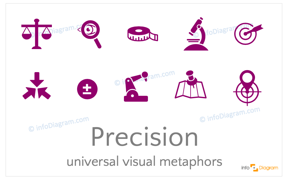 Precision concept icons symbols design-neutral flat for PowerPoint