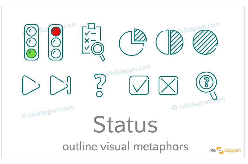 Status concept icons symbols outline for PowerPoint