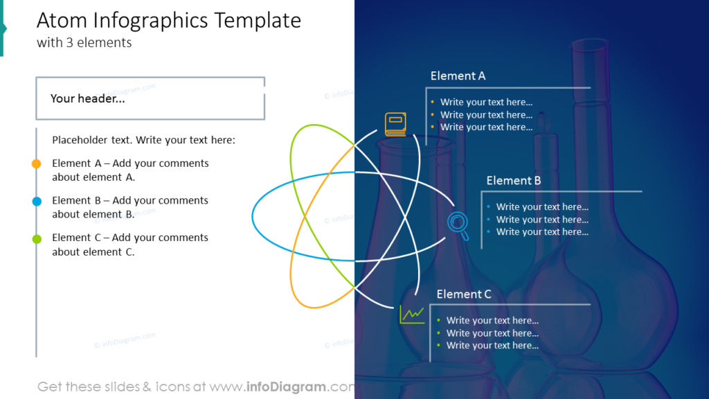 Atom Infographics Templatewith 3 elements