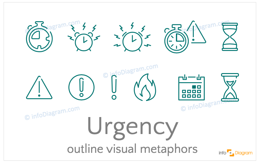 Urgency concept icons symbols outline for PowerPoint