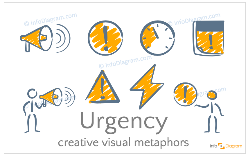 Urgency concept icons symbols scribble for PowerPoint