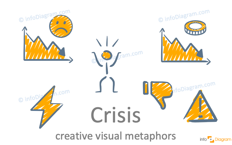 Crisis concept icons symbols creative unique for PowerPoint