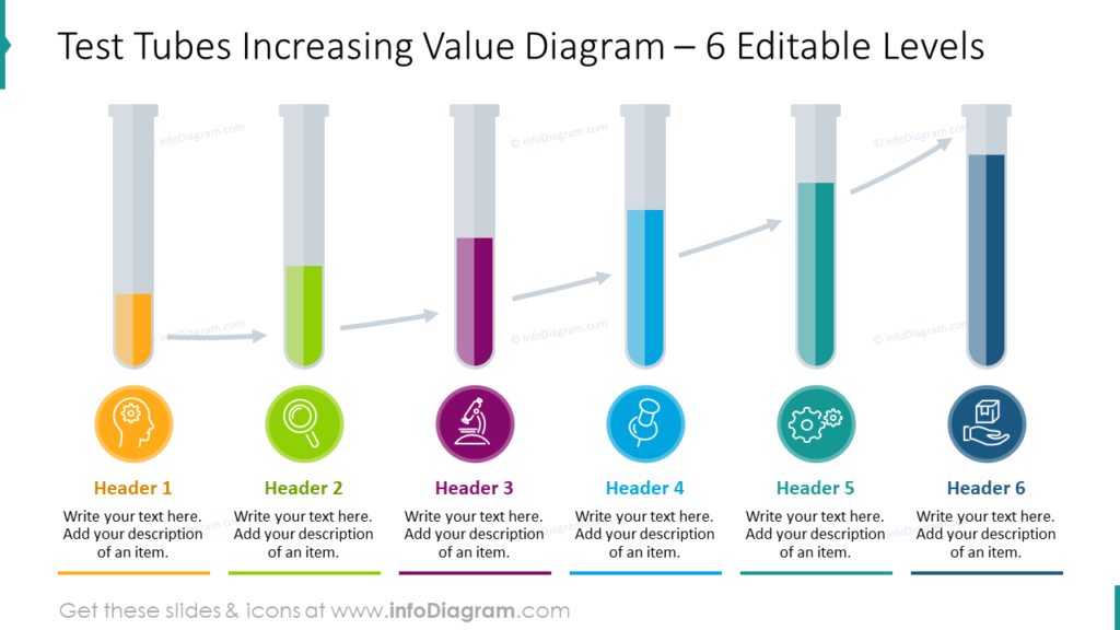 Test Tubes Increasing Value Diagram – 6 Editable Levels
