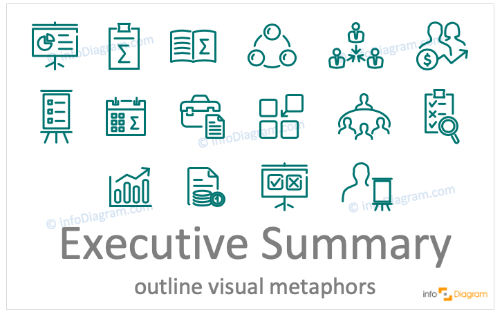 Executive summary concept icons symbols outline for PowerPoint