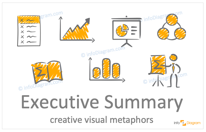 Executive summary concept icons symbols scribble for PowerPoint