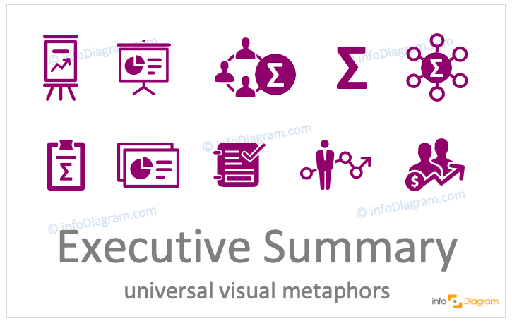 Executive summary concept icons symbols flat for PowerPoint