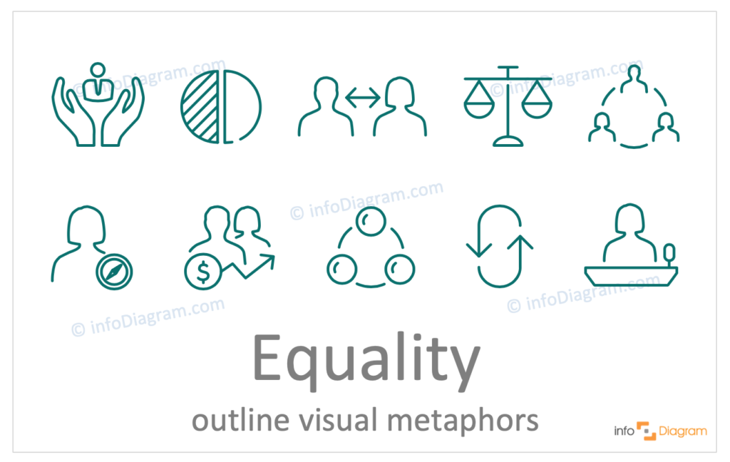 Equality concept icons symbols outline for PowerPoint