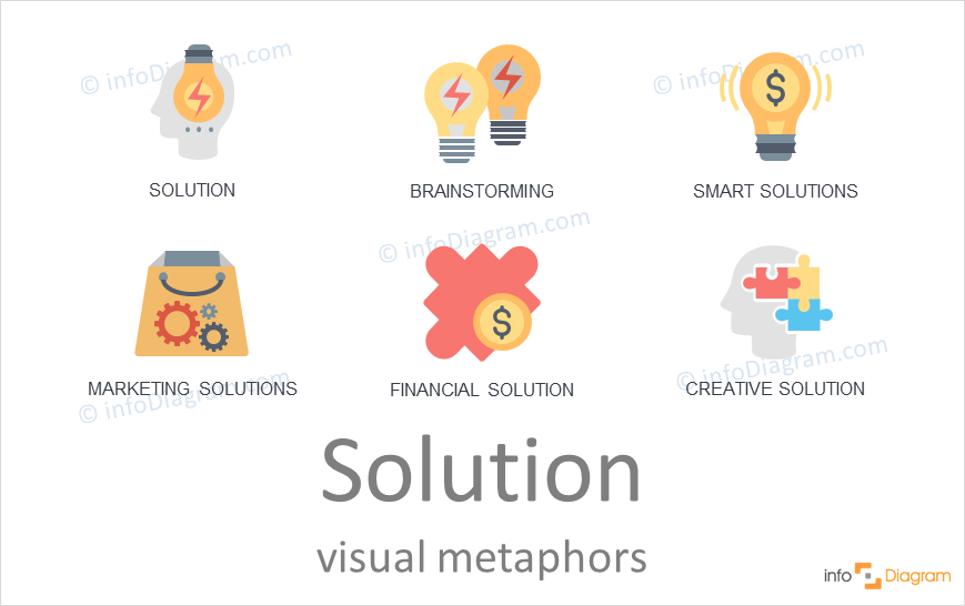 Solution concept icons colorful symbols for PowerPoint