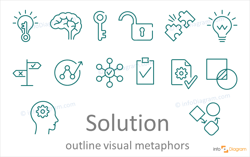 Solution concept icons symbols outline for PowerPoint