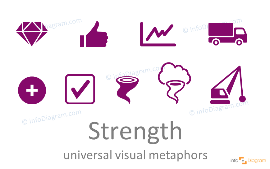 Strength concept icons symbols universal for PowerPoint