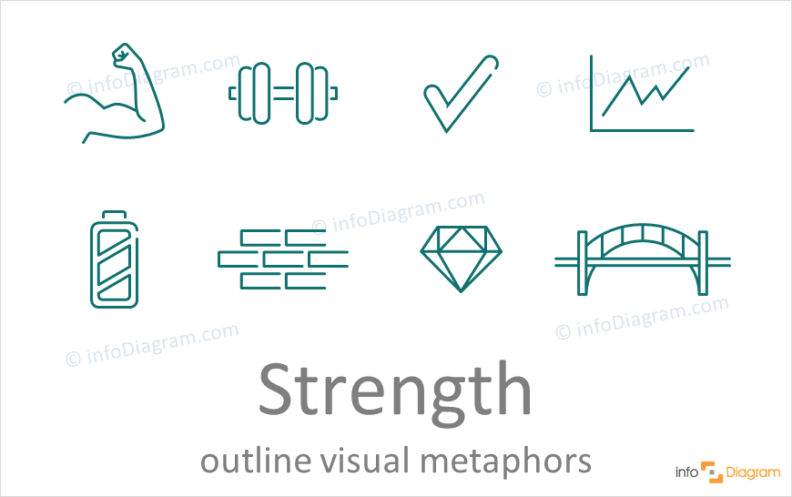 Strength concept icons symbols outline for PowerPoint
