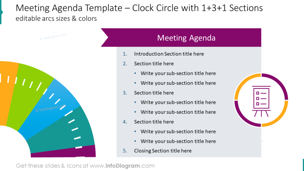 Meeting Agenda Template – Clock Circle with 1+3+1 Sections