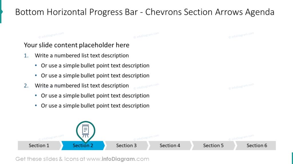 Bottom Horizontal Progress Bar - Chevrons Section Arrows Agenda