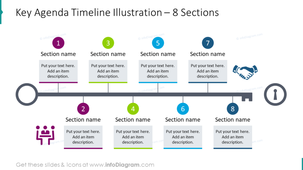 Key Agenda Timeline Illustration – 8 Sections