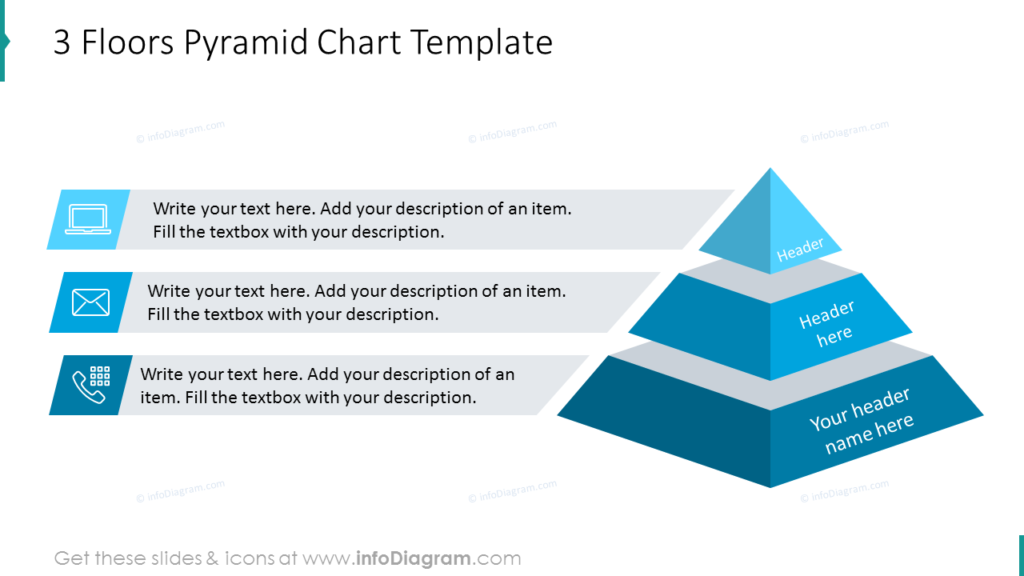 3 Floors stacked Pyramid Chart Template