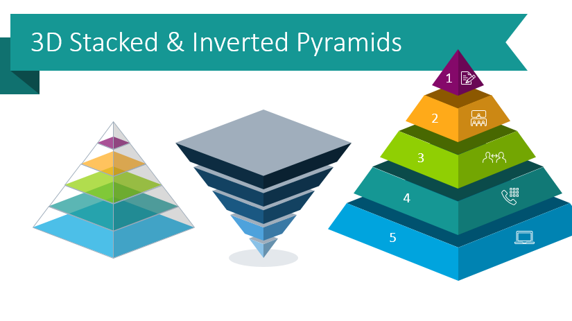 Present Hierarchies With Stacked Pyramid Visual Metaphor Diagrams