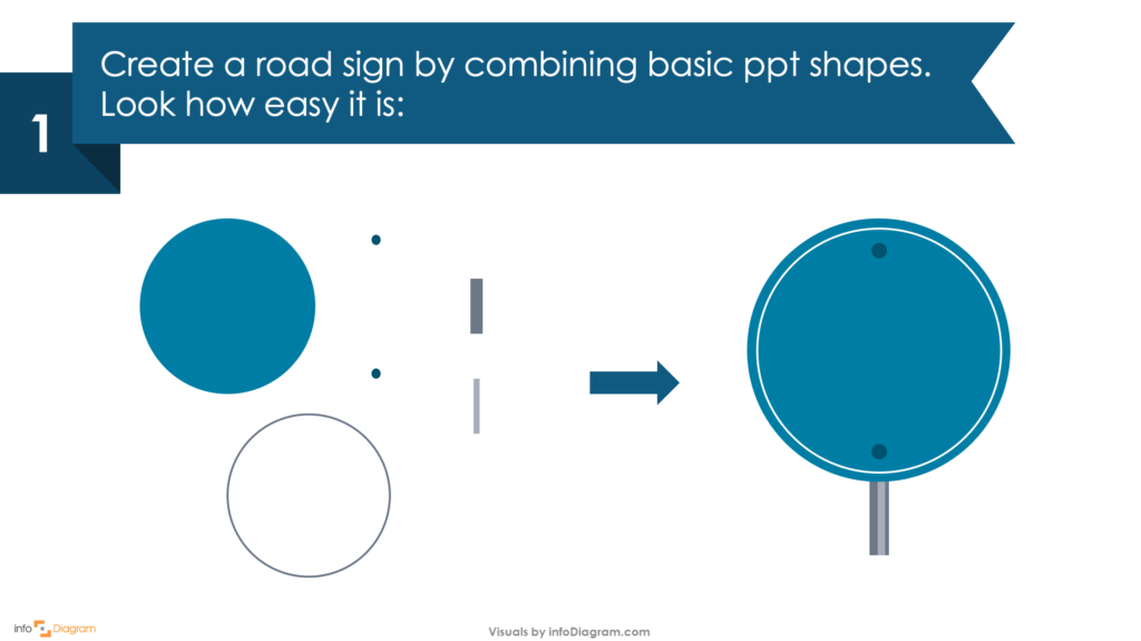 Guide on how to create your own Traffic Sign Infographics Slide in PowerPoint first step