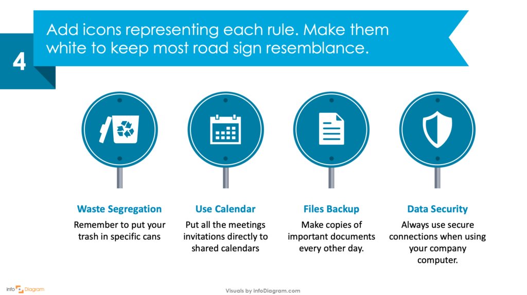 Guide on how to create your own Traffic Sign Infographics Slide in PowerPoint fourth step