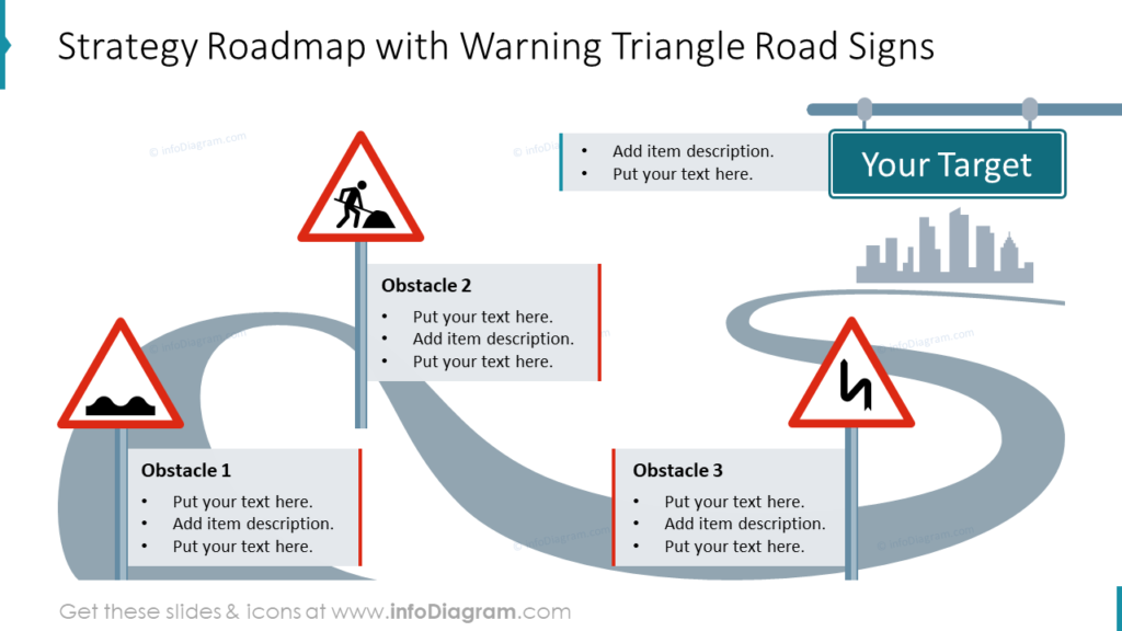 Strategy Roadmap with Warning Triangle Road Signs infographics