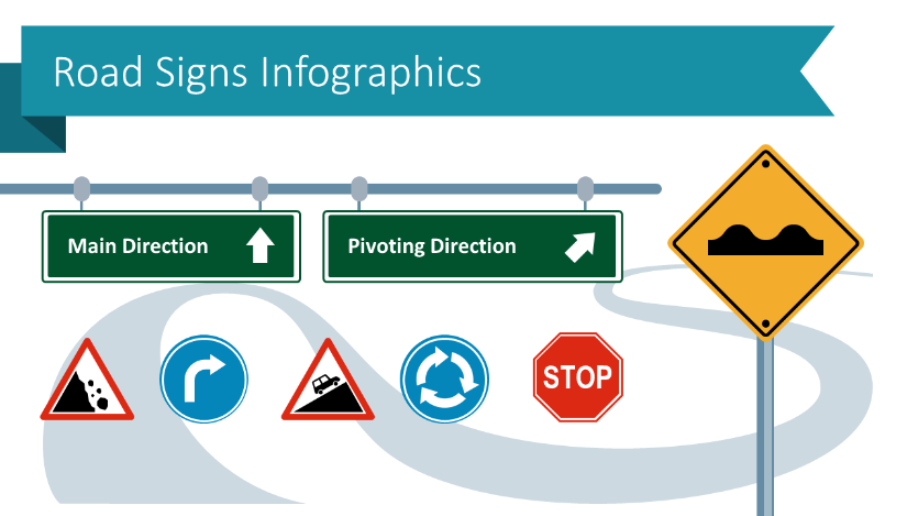 Use Road Sign PPT Infographics to Show Strategies, Processes and Work Rules Creatively