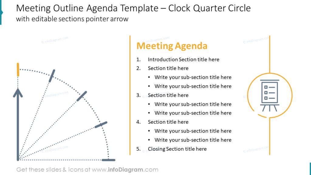 Meeting Outline Agenda Template – Clock Quarter Circle