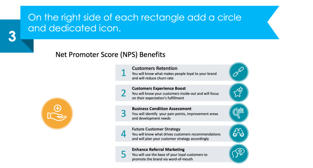 guide on presenting Customer Experience Net Promoter Score third step