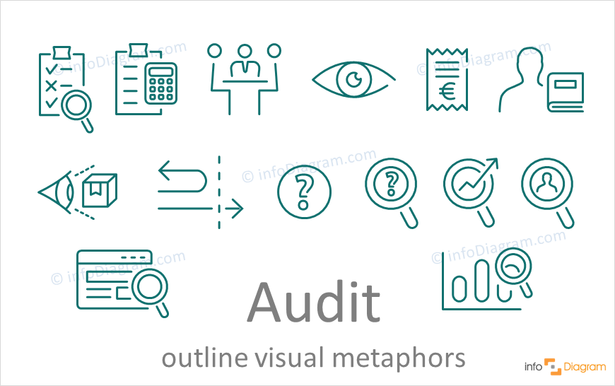 audit concept symbol powerpoint outline vector icon infodiagram
