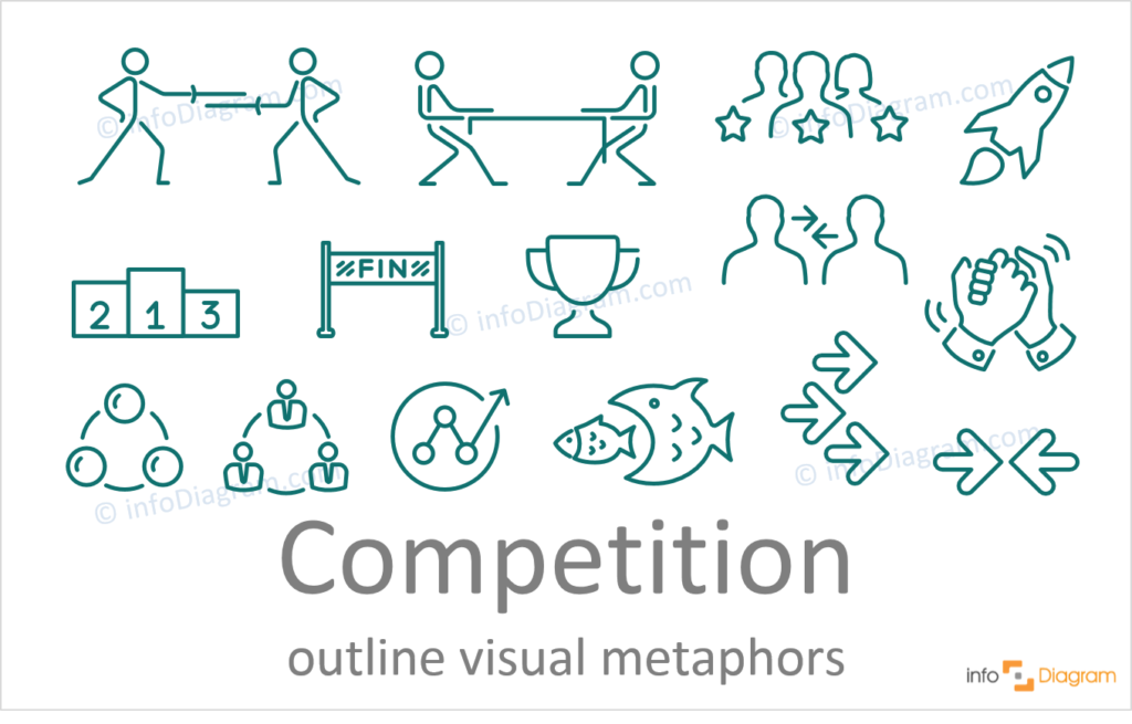 competition concept powerpoint line icons ppt