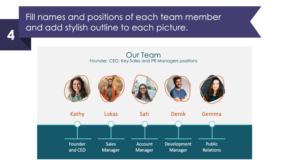 guide on how to present team in Investor Pitch Deck ppt step third