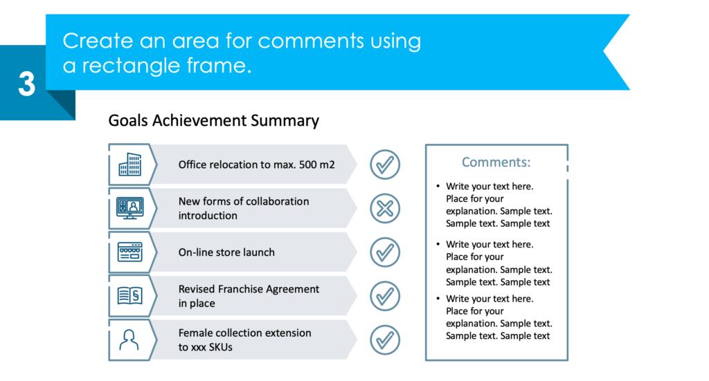 guide on creating Goals Achievement Summary slide third step
